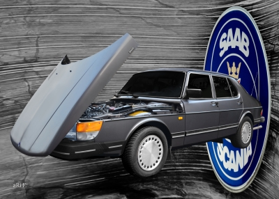 Saab 900 Limousine Steilschnauzer Poster in Originalfarbe