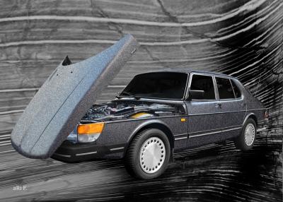 Saab 900 Sedan Poster Steilschnauzer Schweden for sale
