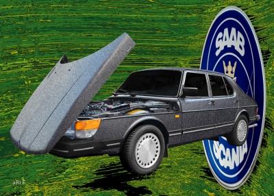Saab 900 Poster Art Car