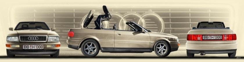 Poster Audi 80 Cabriolet Heck-, Front und Seitenansicht