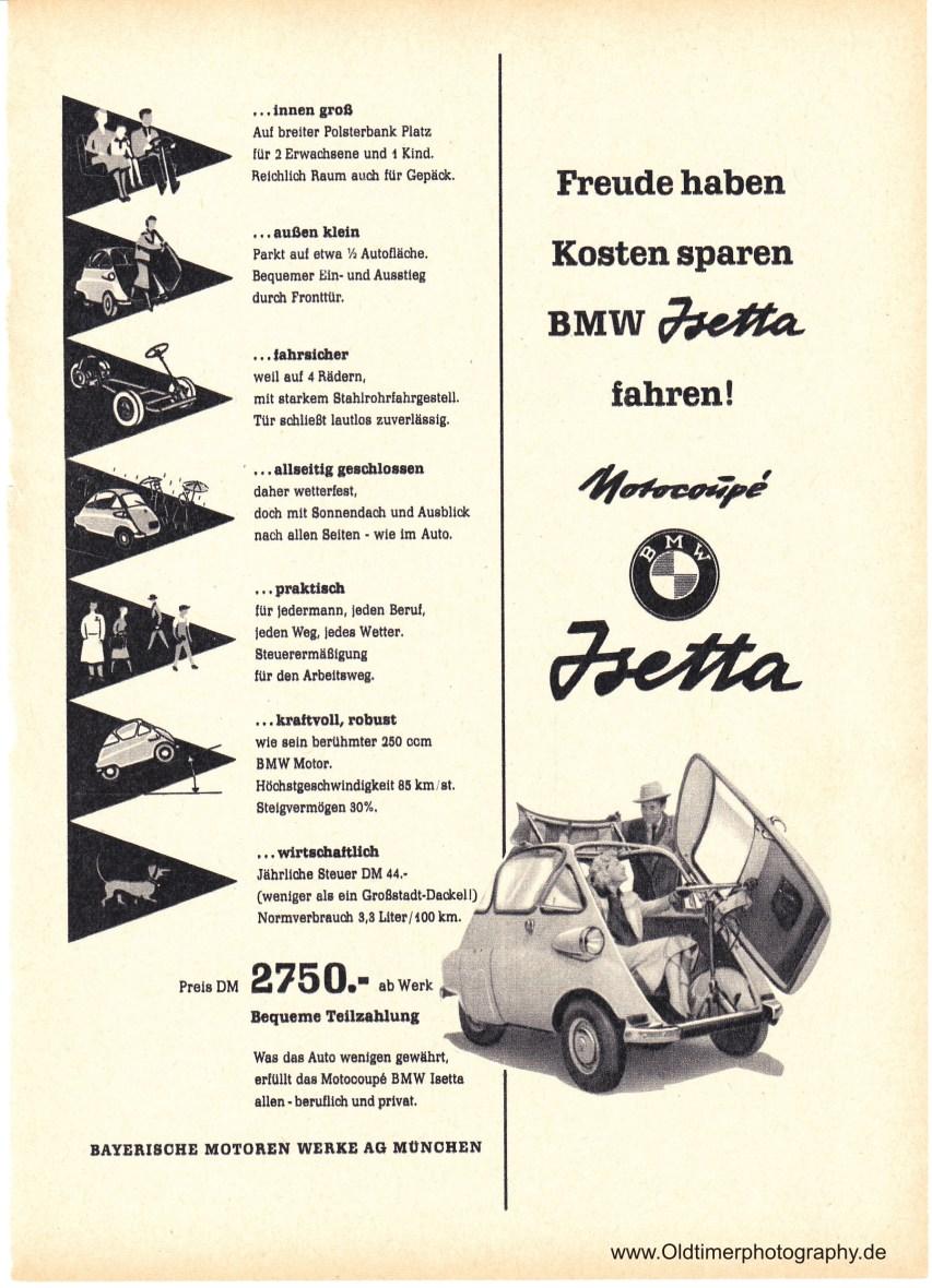 BMW Isetta Werbung - Freude haben Kosten sparen