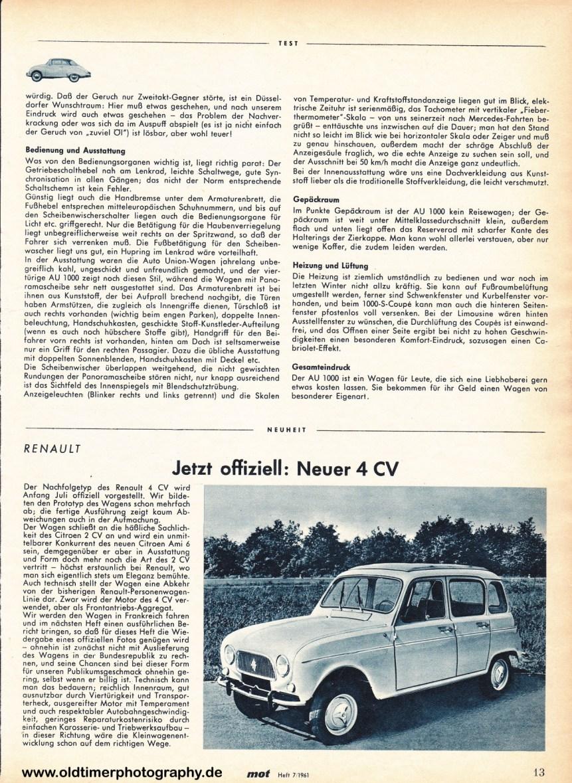 Renault R4 mot Heft 7 1961 Seite 13