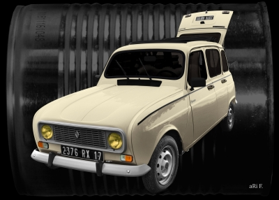 Renault 4 Poster in antique sahara colors