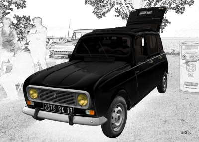 Renault 4 in black & white graphit