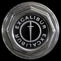 Logo Excalibur IV als Abdeckung auf Speichenfelgen