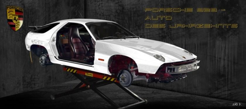 Porsche 928 GT on mobile car lift