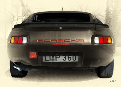 Porsche 928S Poster in antique colour