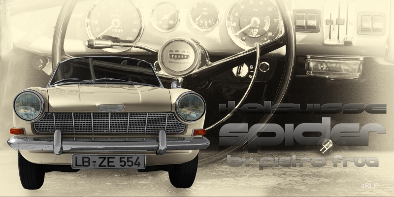 Opel Kadett A Spider Italsuisse Poster mit Interieur