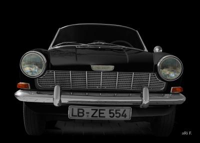 Opel Kadett A Spider Poster in black & black