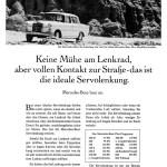 """1967 Werbeanzeige Mercedes-Benz: """"Keine Mühe am Lenkrad, aber vollen Kontakt zur Straße - das ist die ideale Servolenkung."""", Mercedes-Benz Typ 200"""
