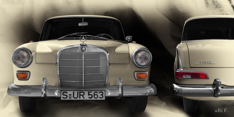Poster Mercedes-Benz W 110 Poster in double view antique