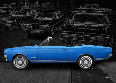 Opel Commodore A Cabriolet Poster in Originalfarbe