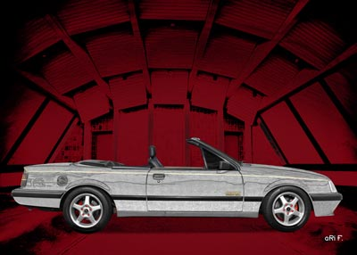 Opel Monza Cabriolet Poster in in red & graphit