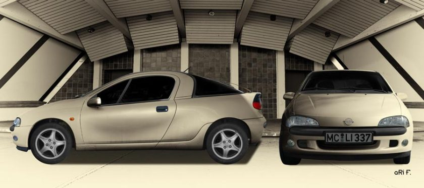 Opel Tigra double view in Antique color