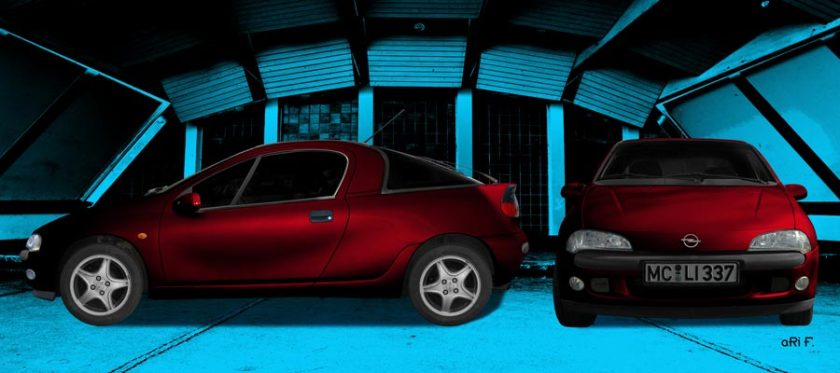 Opel Tigra double view in red blue colors