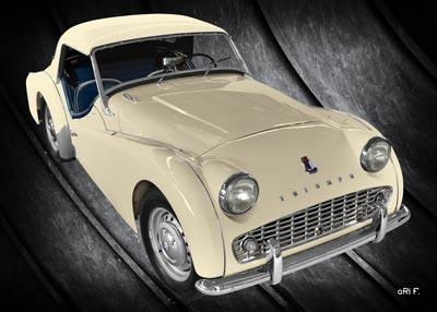 Triumph TR3A in antique & black Poster