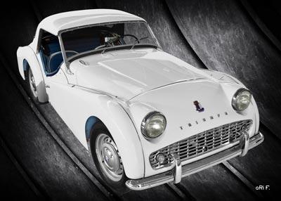 Triumph TR3A Poster in pure white