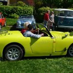 Triumph TR3 in shocked yellow on a Classic Car Meeting