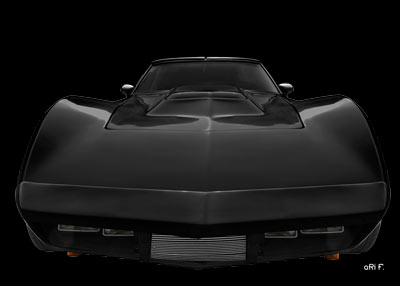 Eckler Corvette front view in dark black by aRi F.