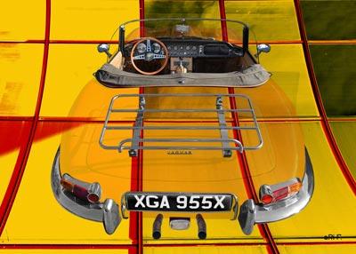 Jaguar E-Type Roadster Series I Poster in yellow