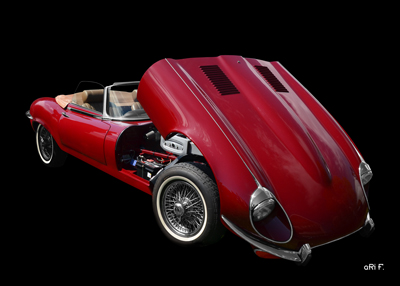 Jaguar E-Type Serie 3 Roadster Poster in black & red (Originalfarbe) opened