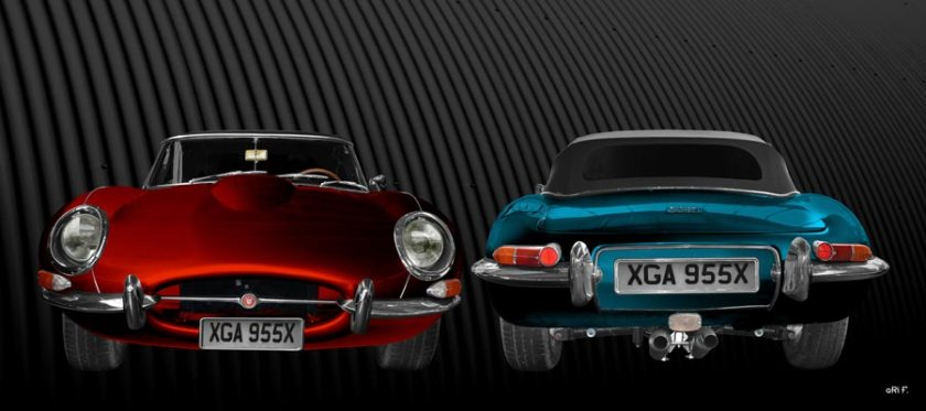 Jaguar E-Type Roadster Series I in red & blue double view