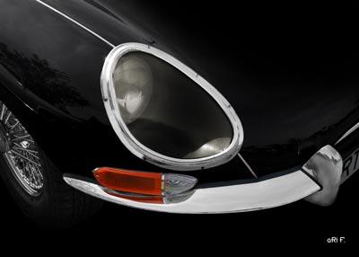Jaguar E-Type Serie 1 Poster in darkblack Frontdetail