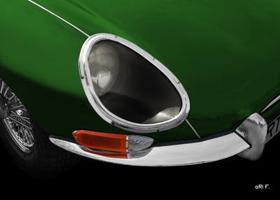 Jaguar E-Type Serie 1 Frontdetail in racing green