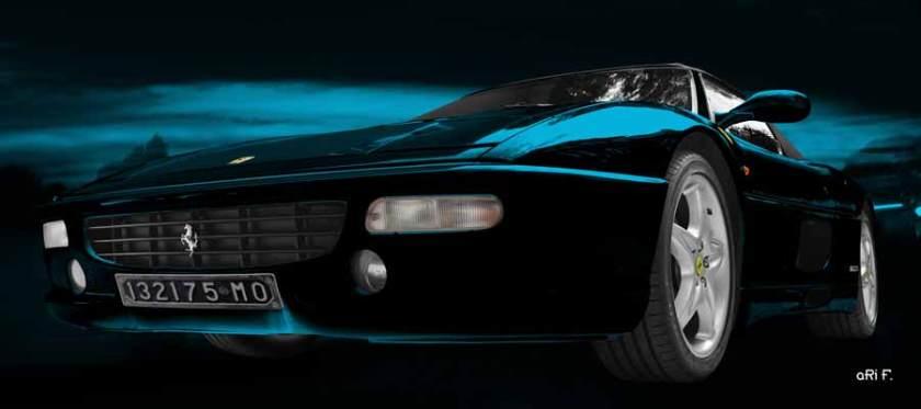 Ferrari F355 Spider in midnight blue color