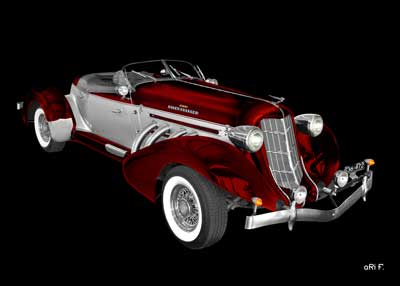 1936 Auburn 852 Supercharged Speedster in red & silver