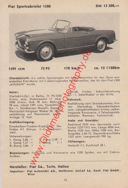 Fiat Sportcabriolet 1500 technisches Datenblatt 1959