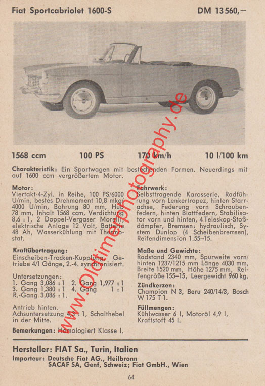 Fiat Sportcabriolet 1600 technisches Datenblatt by Pininfarina 1959