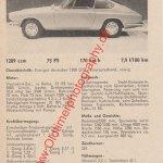 Glas 1300 GT technisches Datenblatt von 1965