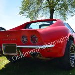 Corvette C3 in red color rear view