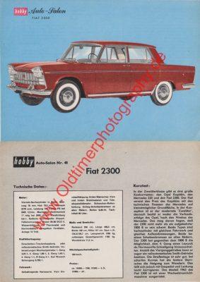 Fiat 2300 Sammelblatt aus hobby Zeitung 1962