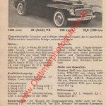 Volvo PV 544 technisches Datenblatt von 1959