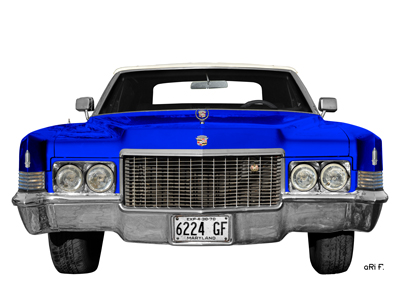 1970 Cadillac DeVille Convertible blue & white