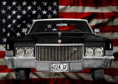1970 Cadillac DeVille Convertible with stars & stripes