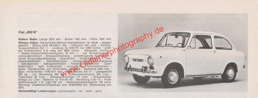 Fiat 850 N Werbung aus Auto Modelle Katalog von 1972