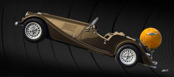 Morgan Plus 8 in copper & black with yellow ball