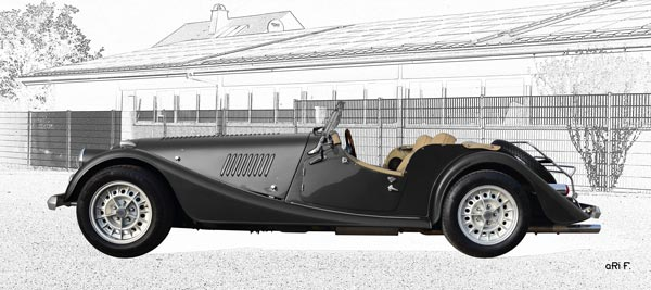 Morgan Plus 8 in black & white (Originalfarbe)