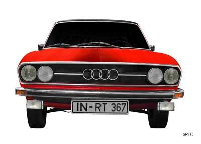Audi 100 C1 in pure red & white front view (Originalfarbe)