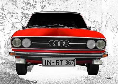Audi 100 C1 in pure red & white graphit front view (Originalfarbe)