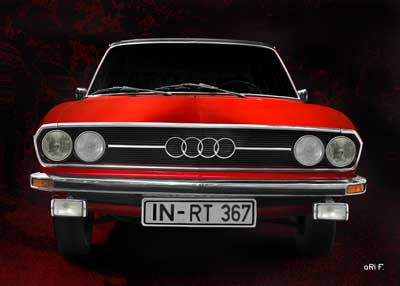 Audi 100 C1 in pure red & black front view (Originalfarbe)