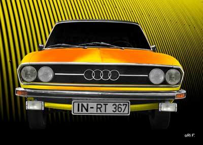 Audi 100 C1 in pure yellow & yellow front view