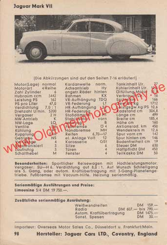 Jaguar Mark VII 1950–1956 Advertising Werbung von 1954