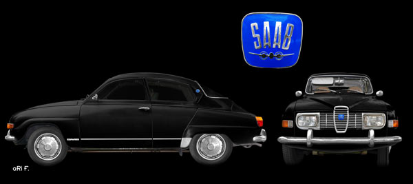 Saab 96 double view in black & black double