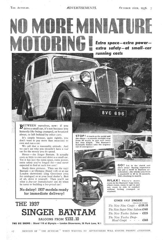 Singer Bantam Advertising 1936 The Auto Car Quelle: Grace 's Guide