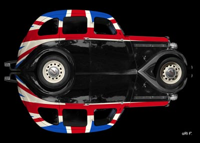 Singer Bantam Saloon Poster in reflection with Union Jack
