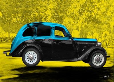 Singer Bantam Saloon Poster in blue & black